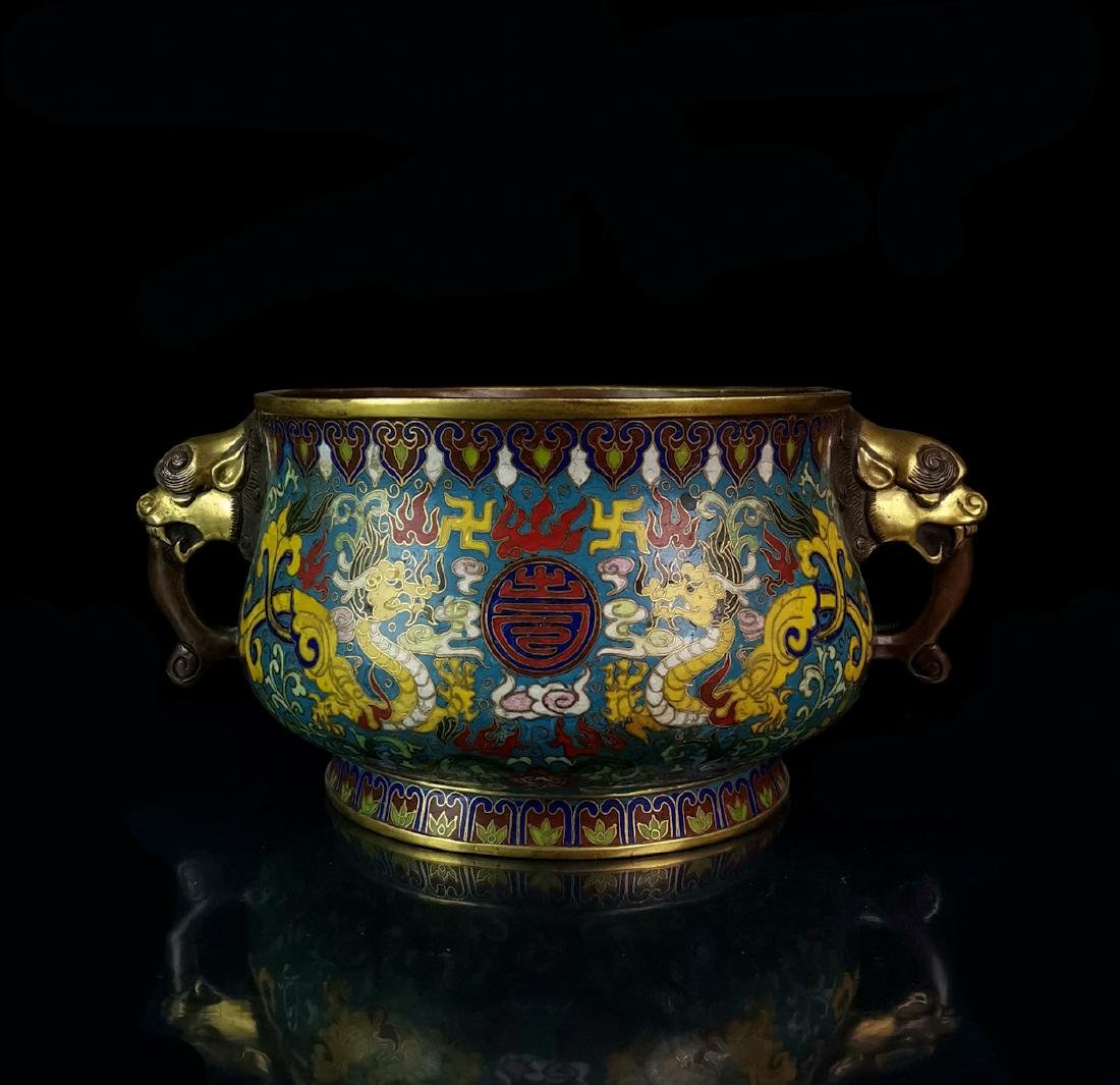 CHINESE CLOISONNE DRAGON CENSER