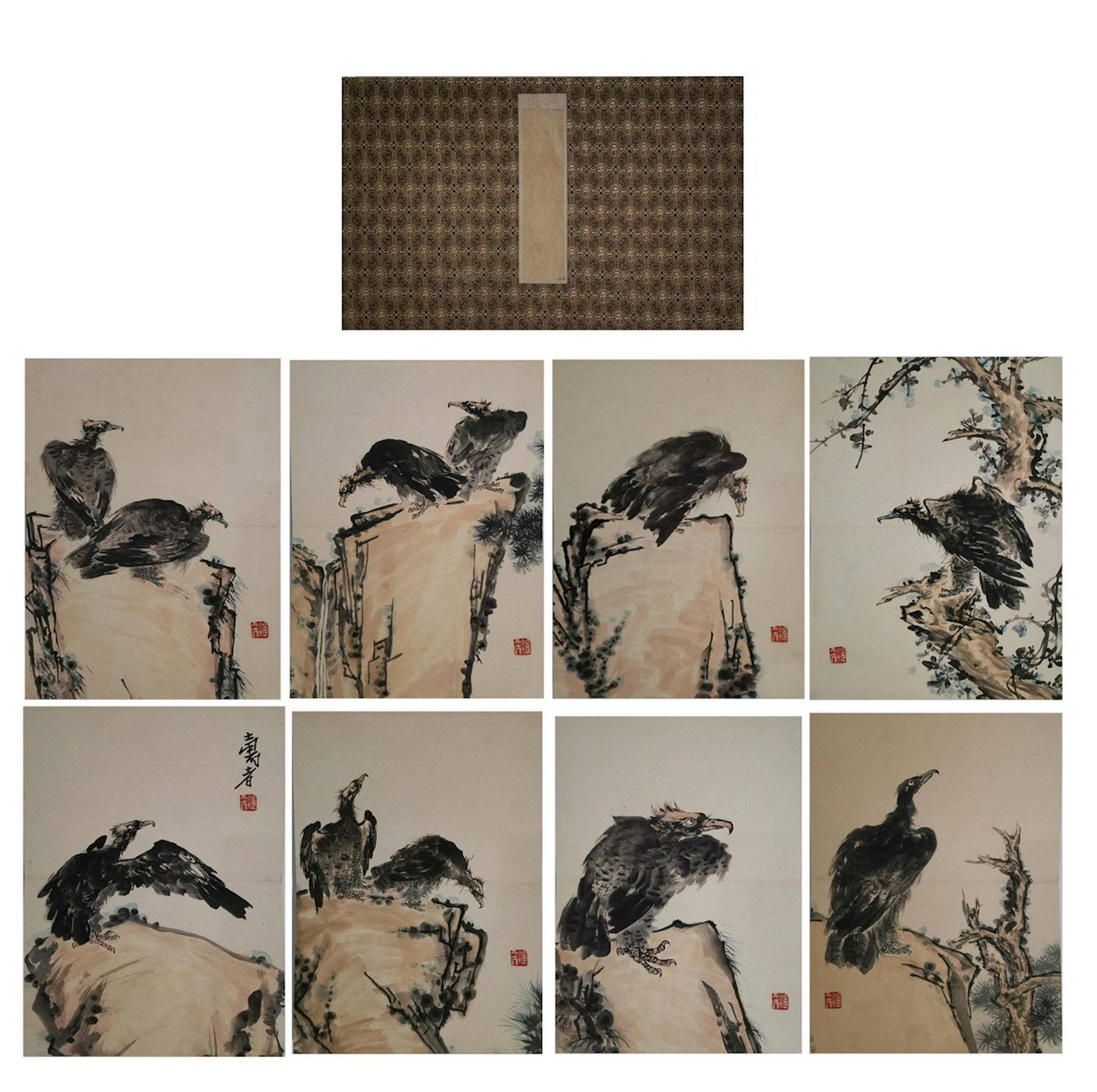 CHINESE PAINTING ALBUM OF EAGLES, PAN TIANSHOU