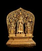 CHINESE GILT BRONZE GUANYIN AND SHRINE SET