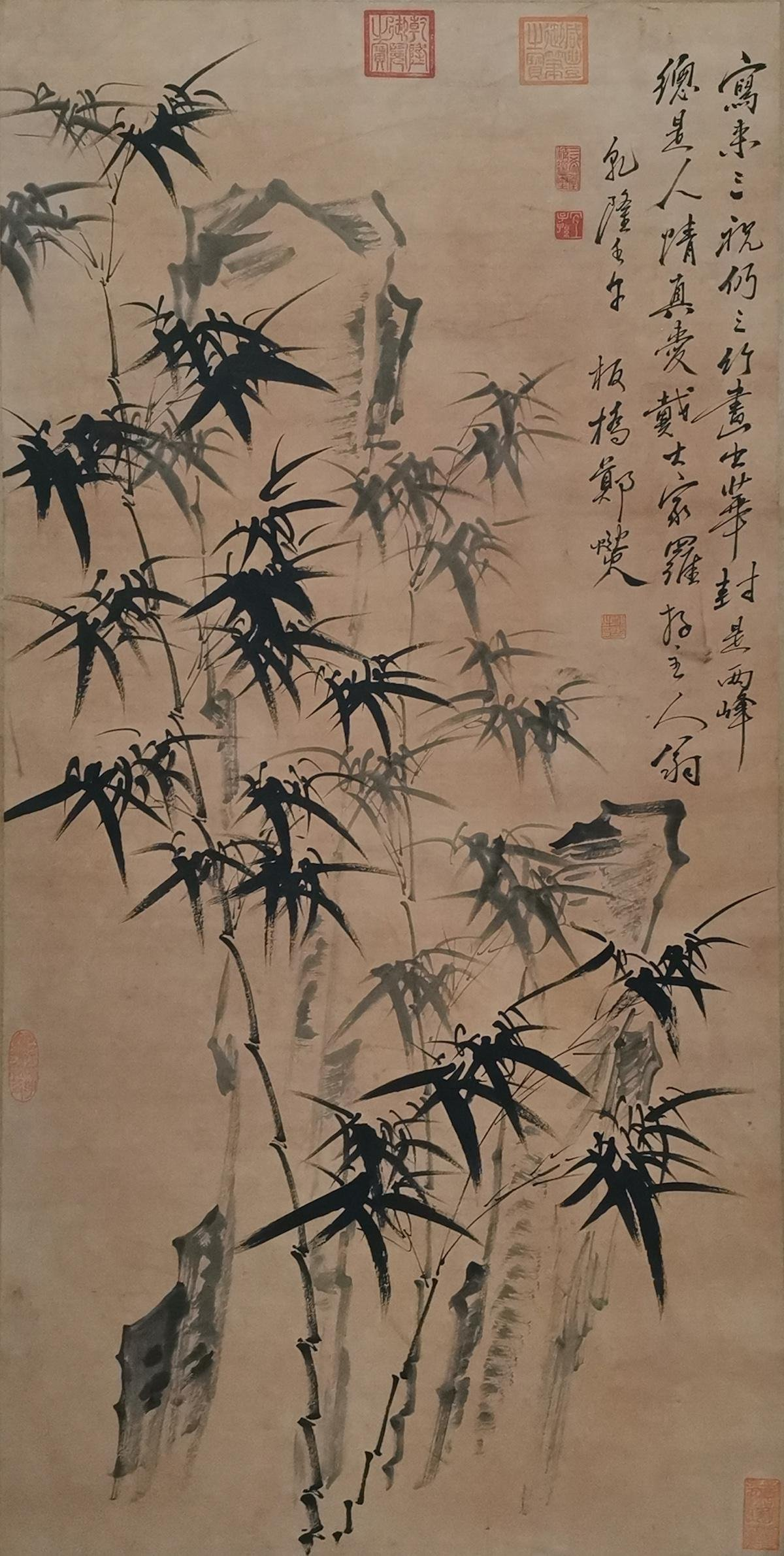 CHINESE INK AND COLOR BAMBOO SCROLL PAINTING