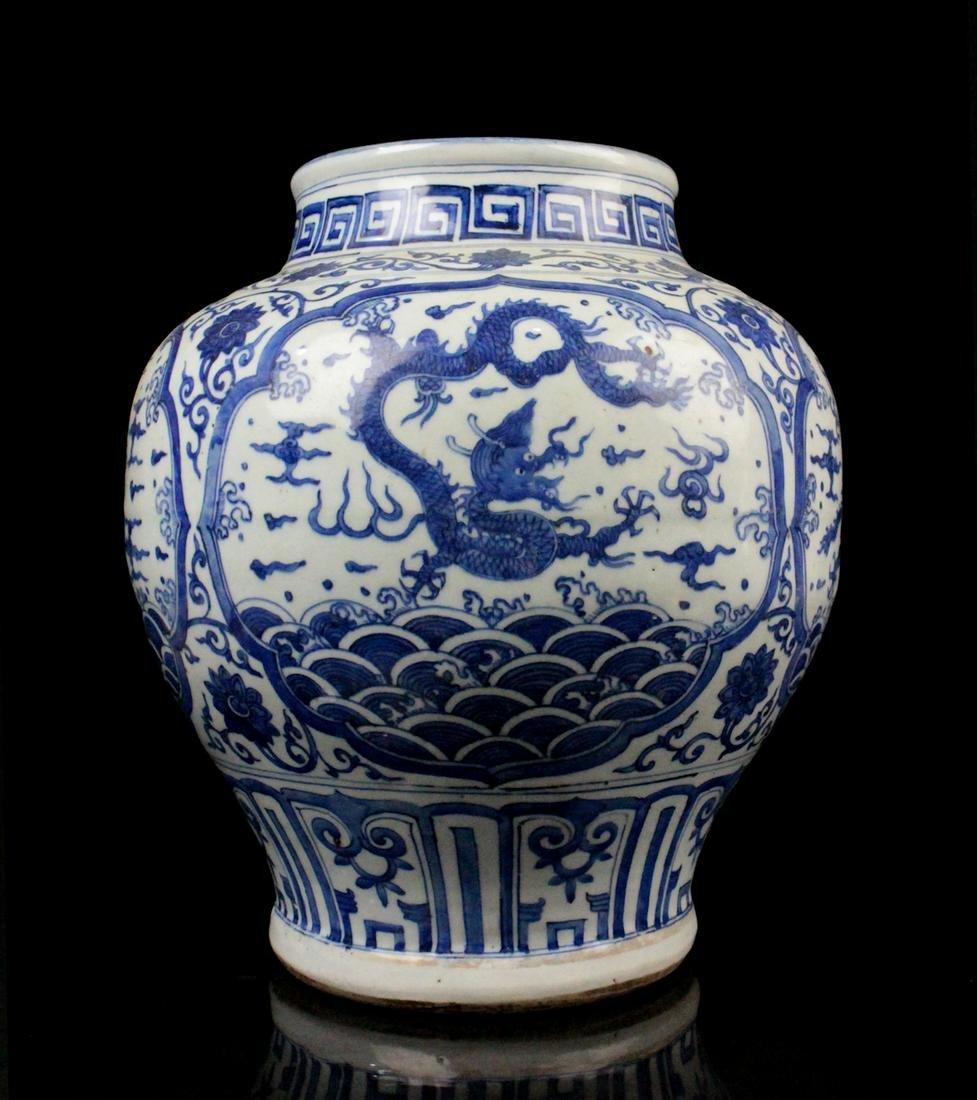 CHINESE BLUE WHITE DRAGON PORCELAIN JAR