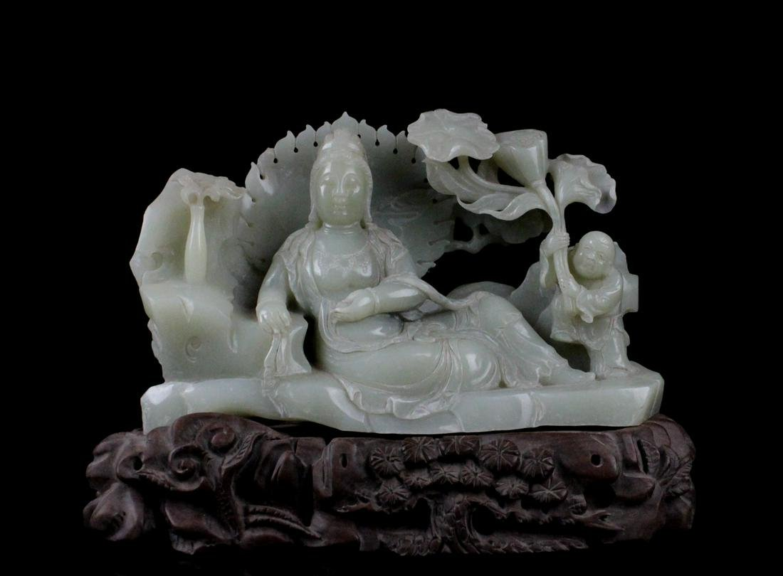 CHINESE CELADON JADE CARVED GUANYIN