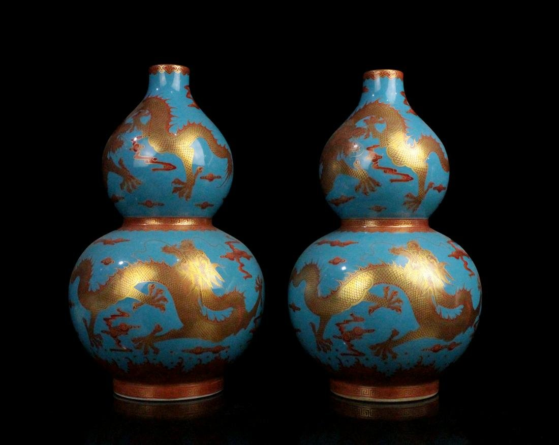 CHINESE FAMILLE ROSE DOUBLE GOURD VASES, PAIR