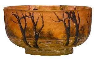 Daum Snow Scene miniature vase