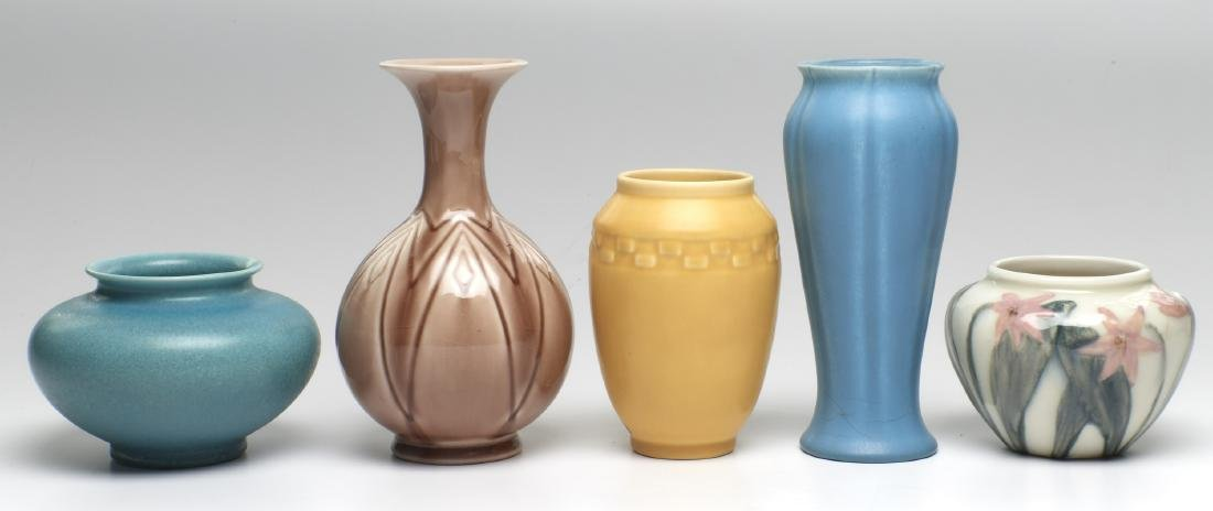 Rookwood Pottery vases, five