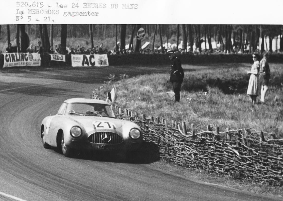 Mercedes-Benz Original b/w press photo Le Mans 1952