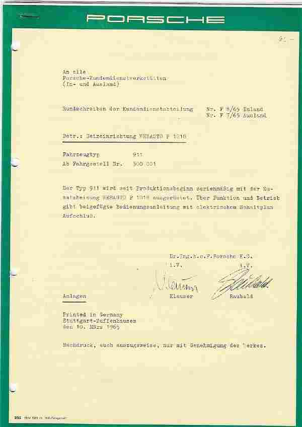 Porsche Circular of Customer Service Department subject