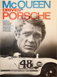 Porsche Poster 'Mc Queen Drives Porsche' from 1970