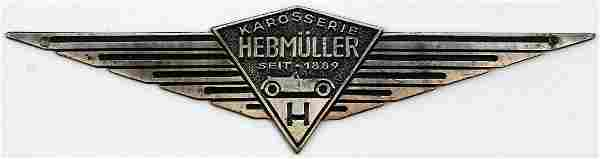 VW Coachwork emblem 'Karosserie Hebmüller seit 1889'