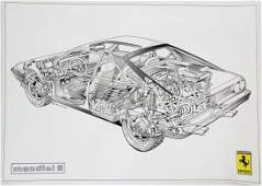 Ferrari 6 x sectionalview drawing Mondial 8 and