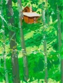 "Alex Katz,""Brown House 1"",2007,Oil on board"
