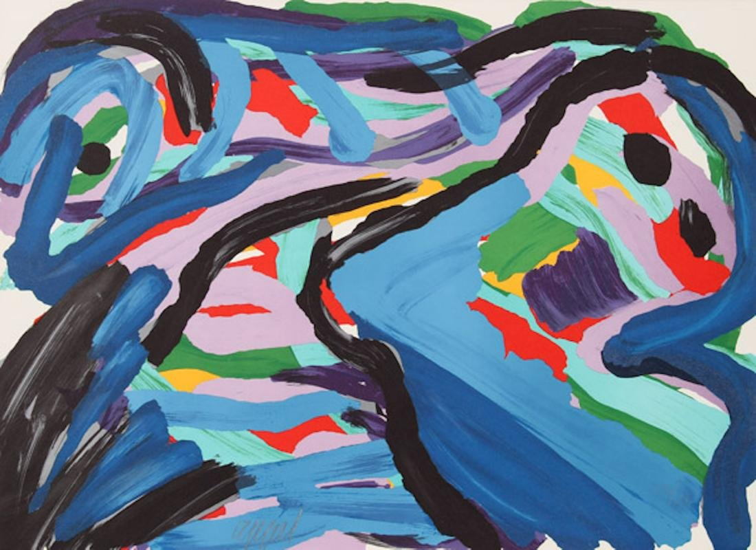 Karel Appel, Floating in a Landscape, Lithograph on