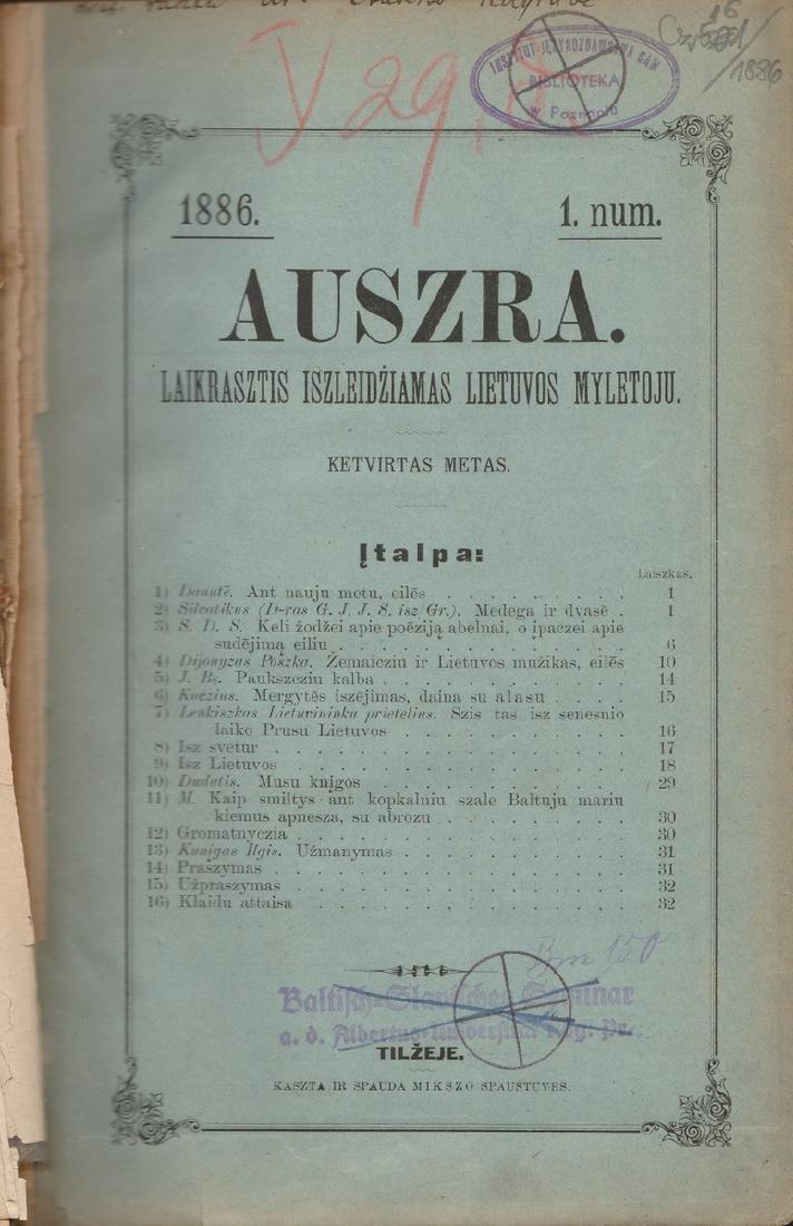 Auszra 1886 Lithuania Lithuanian