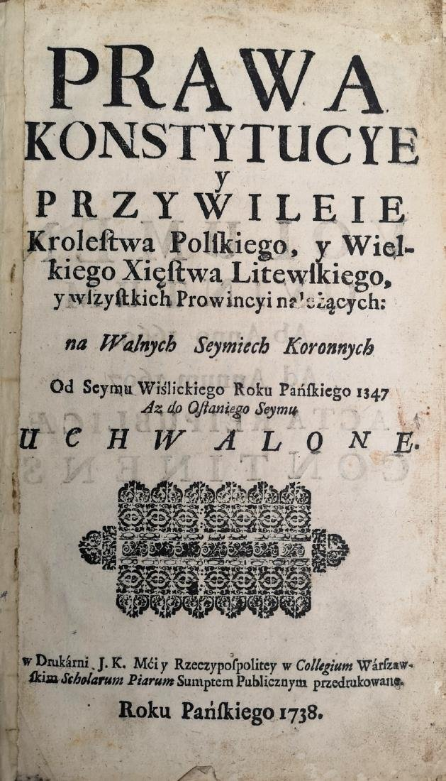 Constitution 1669 Lithuania and Poland Warszawa