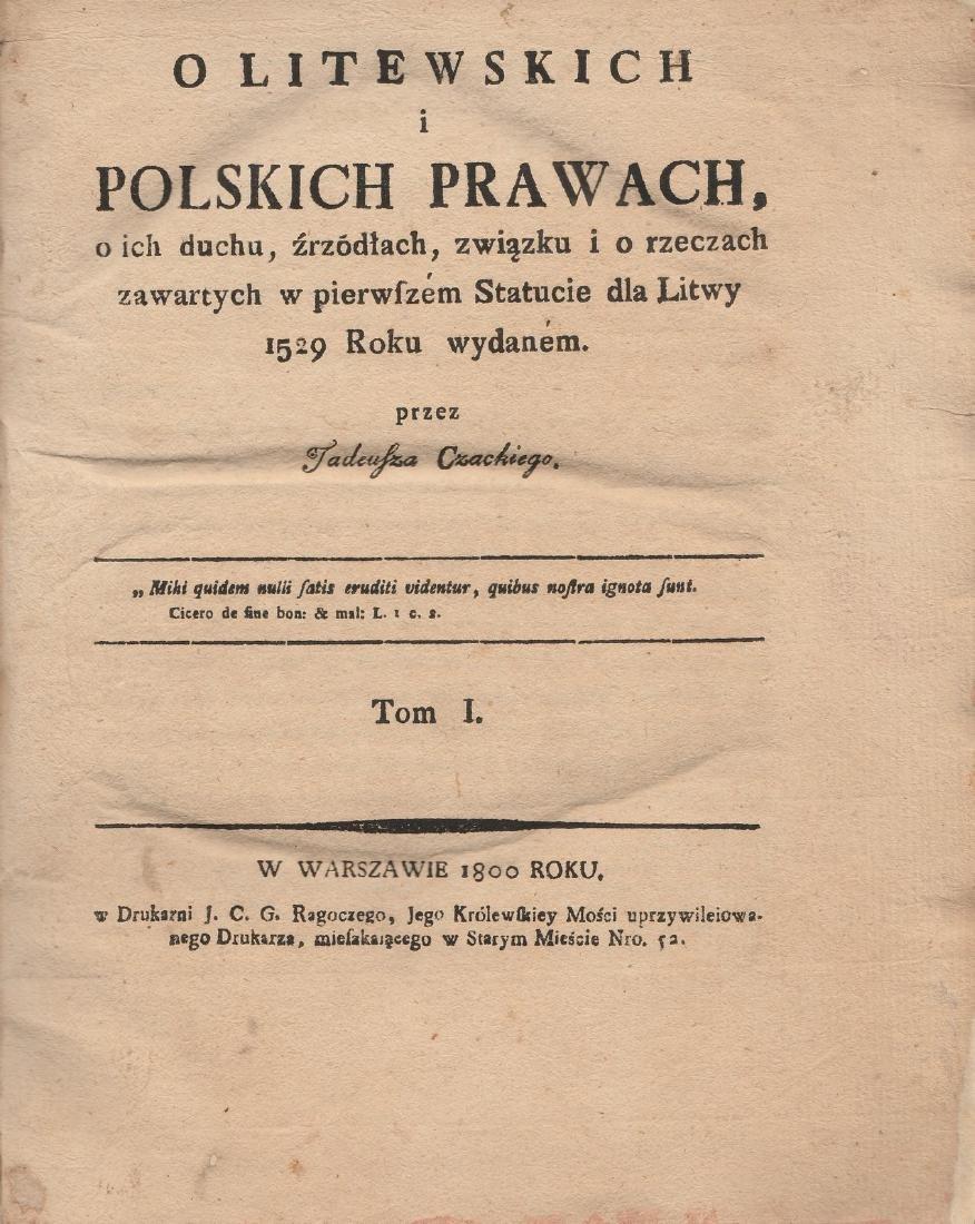 Tadeusz Czacki II volumes Poland Lithuania Warszawa