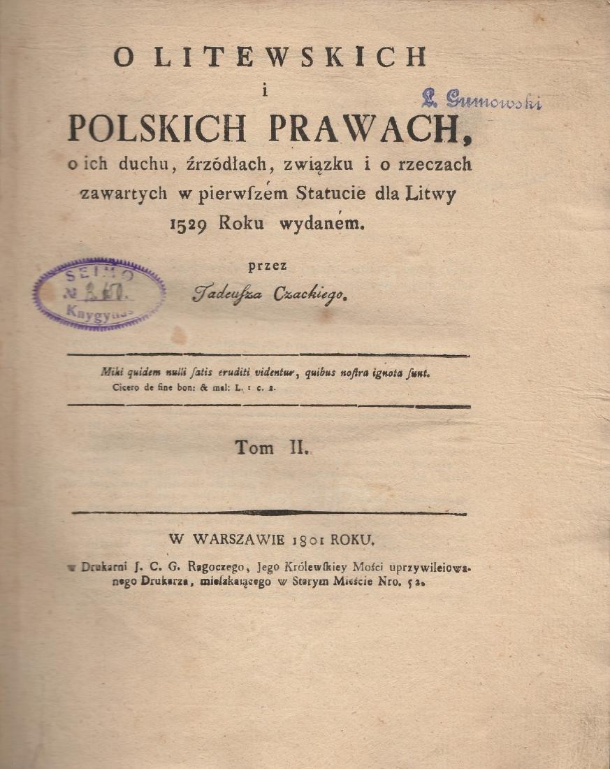 Tadeusz Czacki II volumes Poland Lithuania Warszawa - 2
