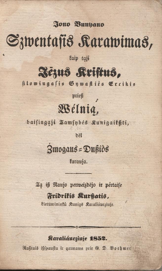 John Bunyan 1852 Lithuania