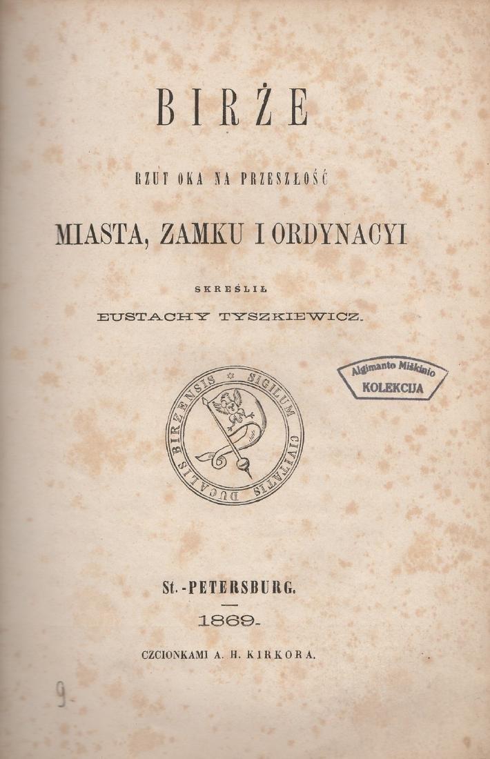 Tyszkiewicz Birze 1869 Lithuania