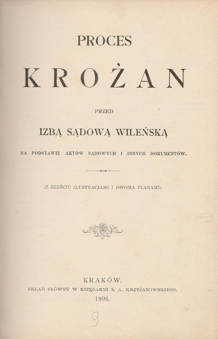 Krozan 1896 Lithuania Krakow Polish
