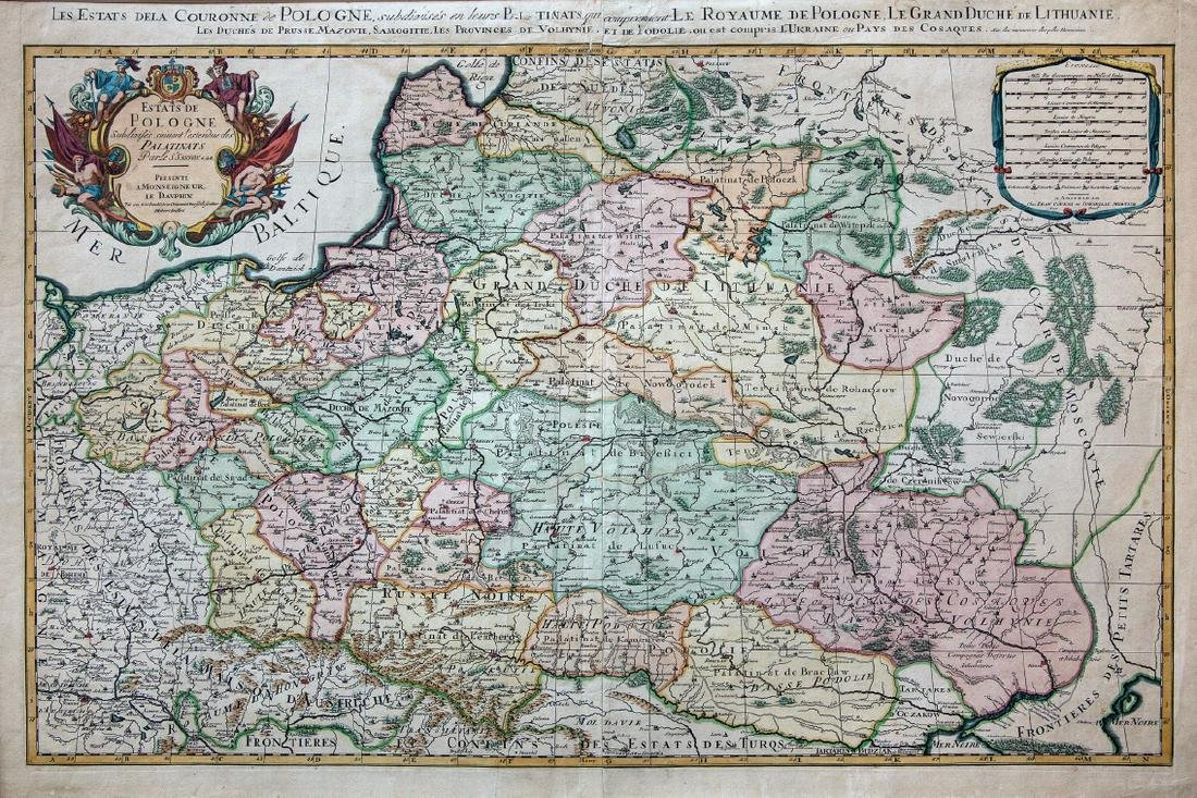 Map Sanson 1662 Pologne Lithuania Poland Ukraine