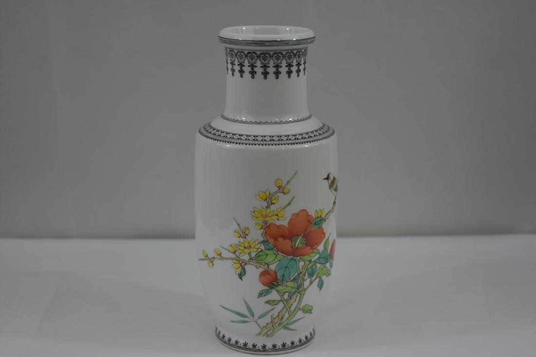 Chinese Famille Rose Vase w/ mark - 2