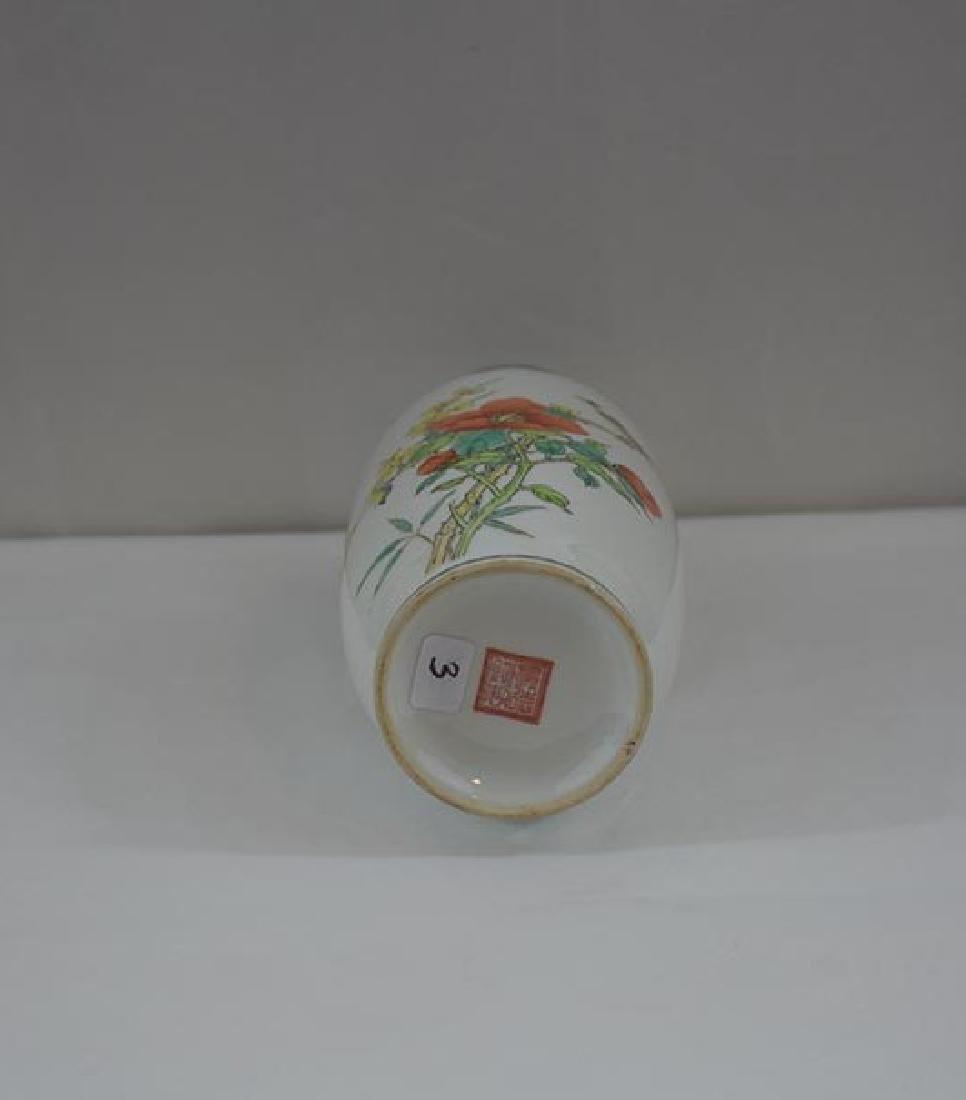 Chinese Famille Rose Vase w/ mark - 5