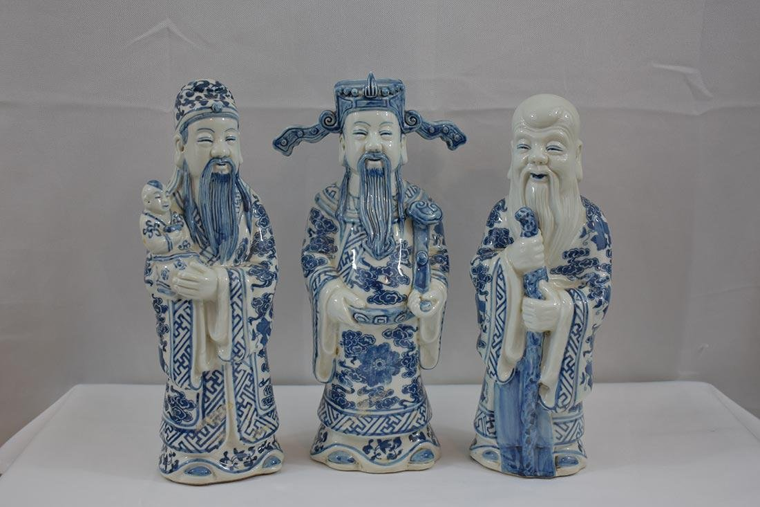 Three Chinese Blue & White Figures 20Th C