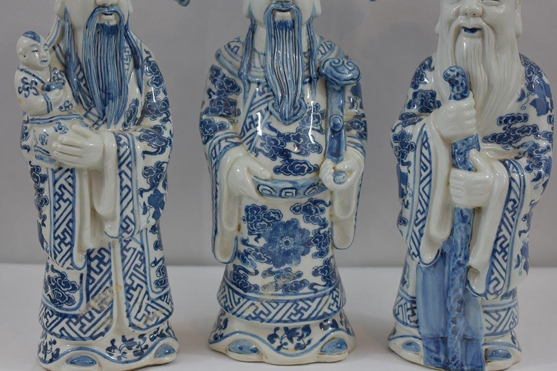 Three Chinese Blue & White Figures 20Th C - 2