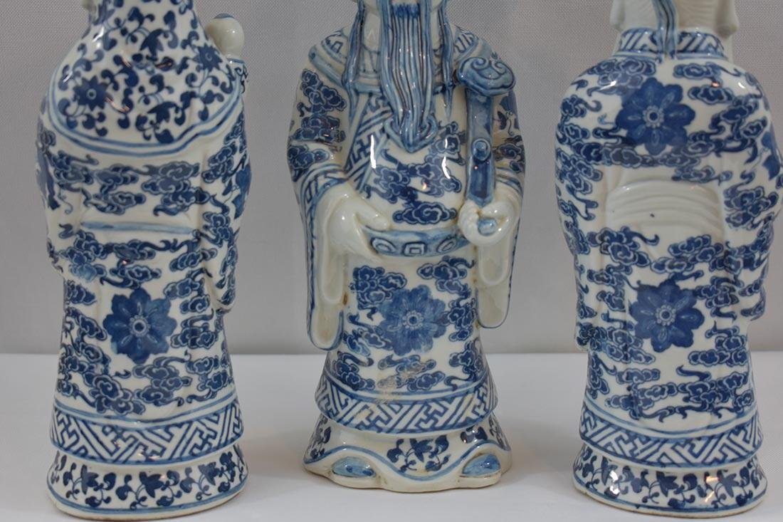 Three Chinese Blue & White Figures 20Th C - 3