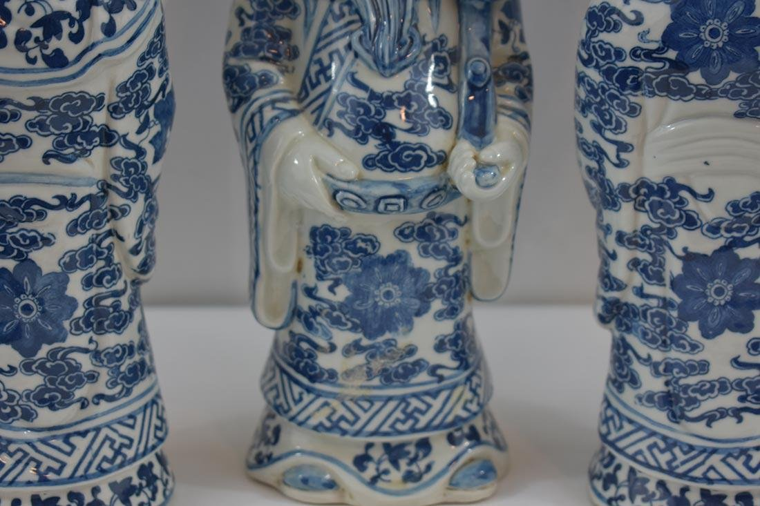 Three Chinese Blue & White Figures 20Th C - 4