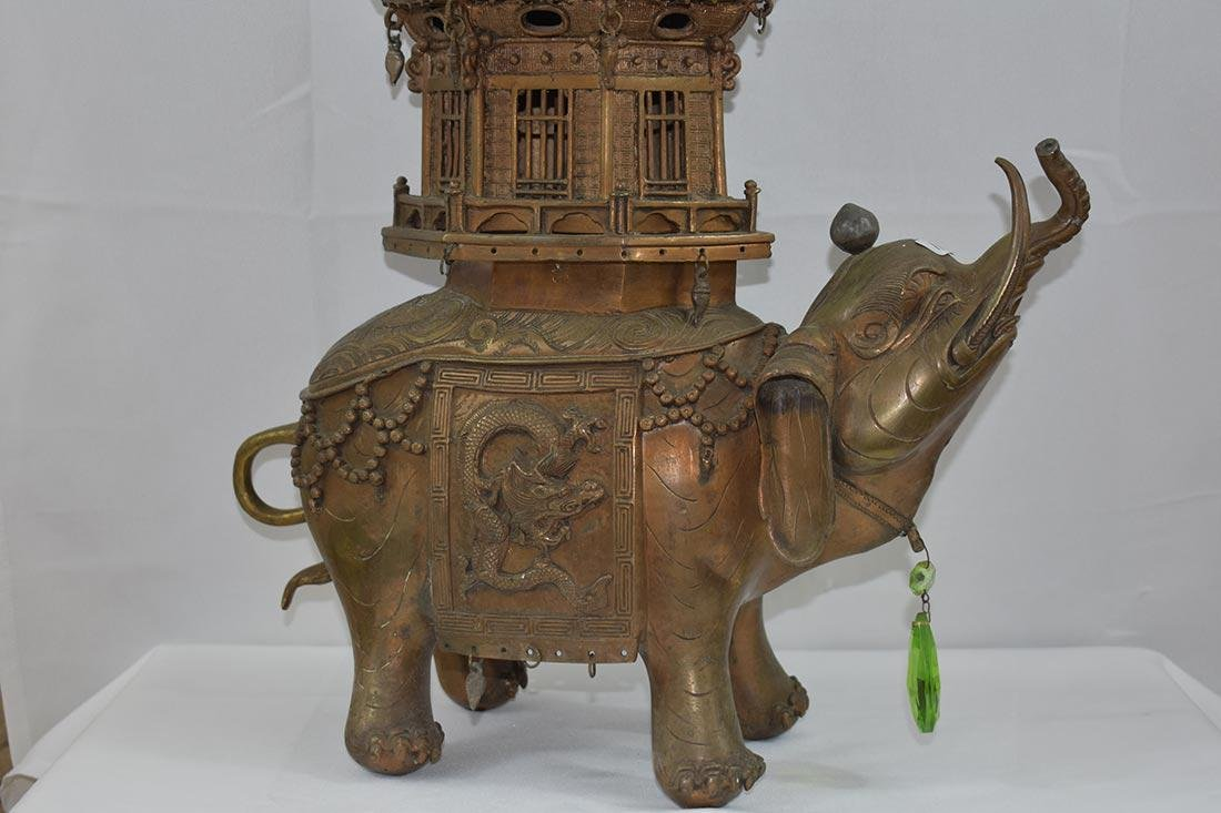 Chinese Cast Bronze Censor/Elephant 20th c - 2