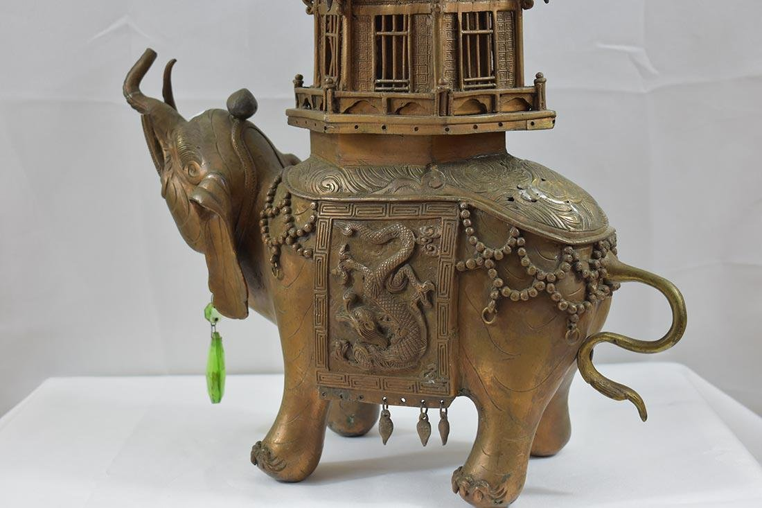 Chinese Cast Bronze Censor/Elephant 20th c - 6