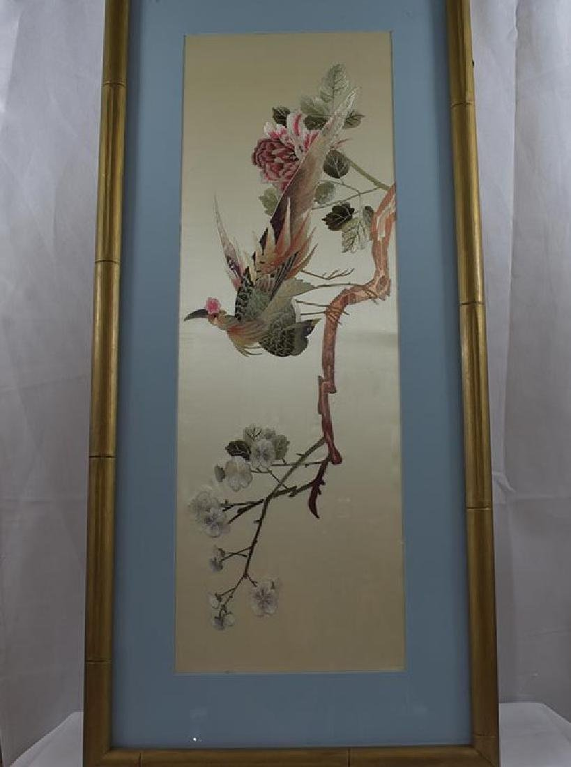 Vintage Chinese Silk Embroidery 20th c - 2