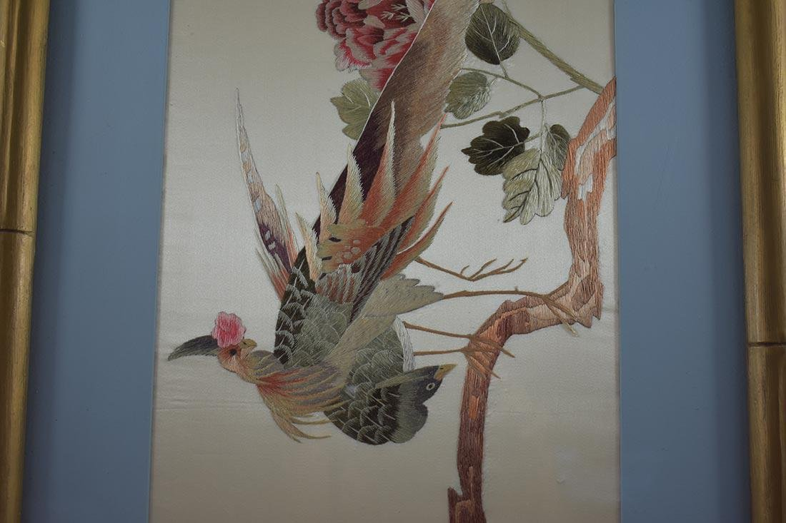 Vintage Chinese Silk Embroidery 20th c - 4