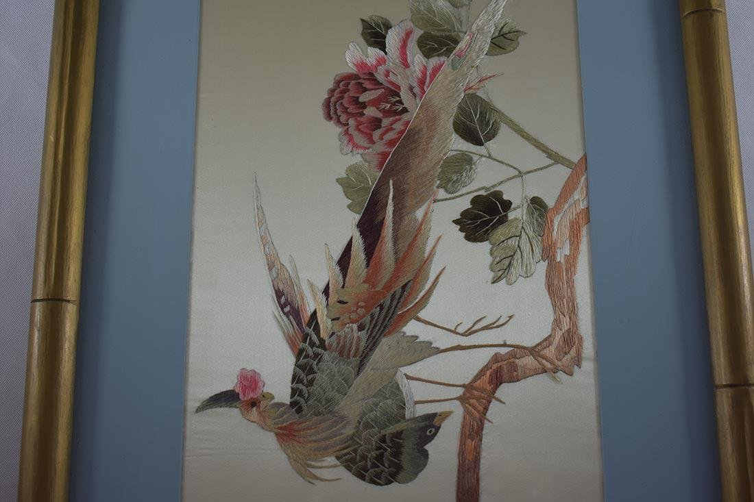 Vintage Chinese Silk Embroidery 20th c - 7