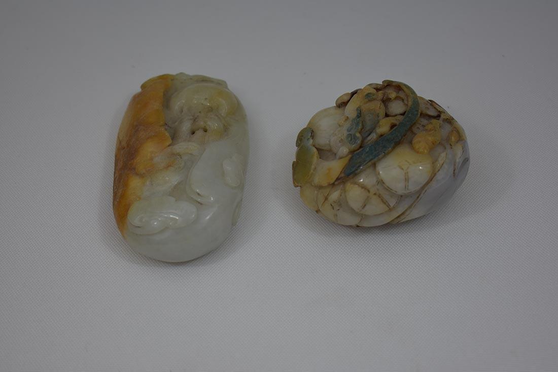 2 Chinese Hardstone Jade Carvings