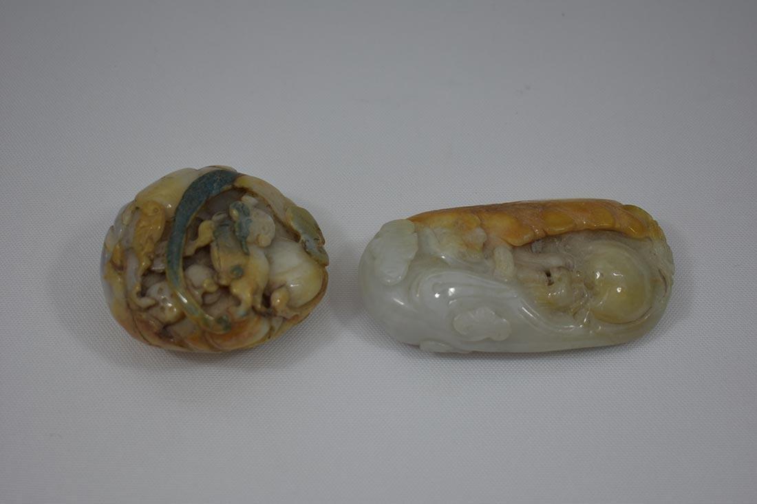 2 Chinese Hardstone Jade Carvings - 8