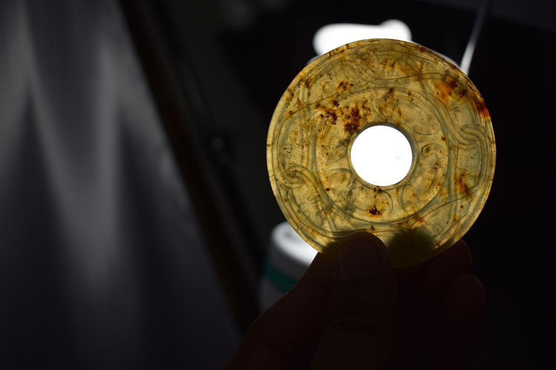 Chinese Hardstone Jade Bi Disc Carving - 4