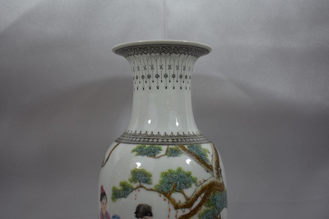 Chinese Famille Rose Vase w/Marks 20C - 3