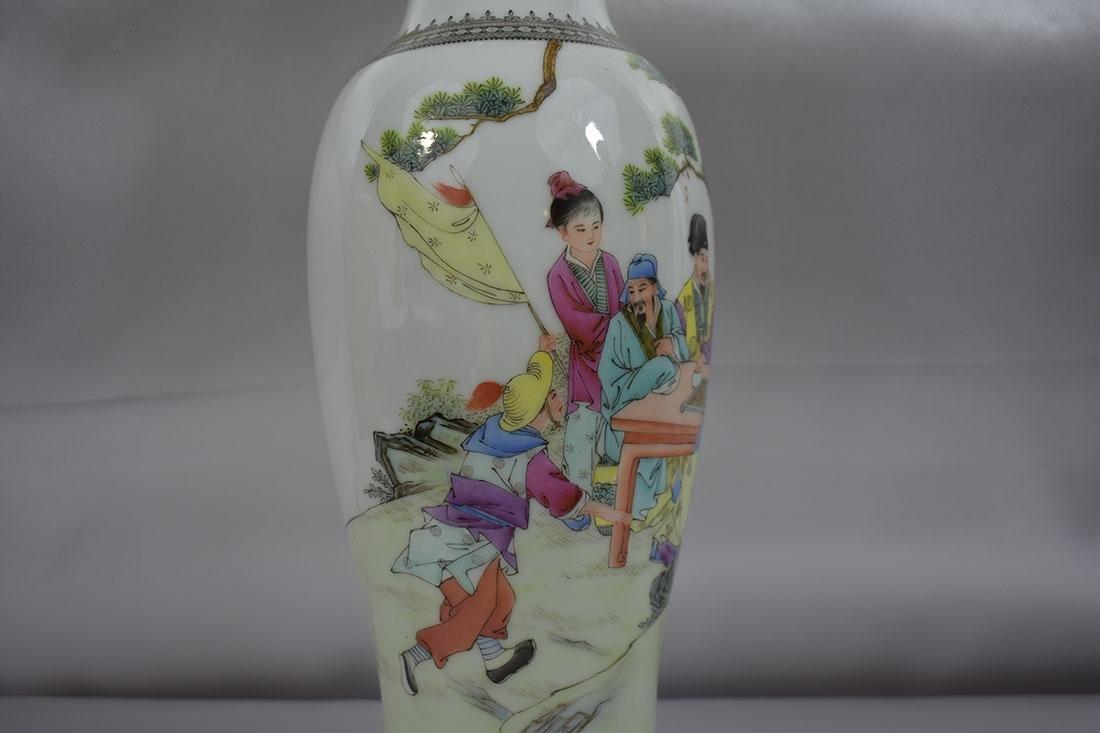 Chinese Famille Rose Vase w/Marks 20C - 4