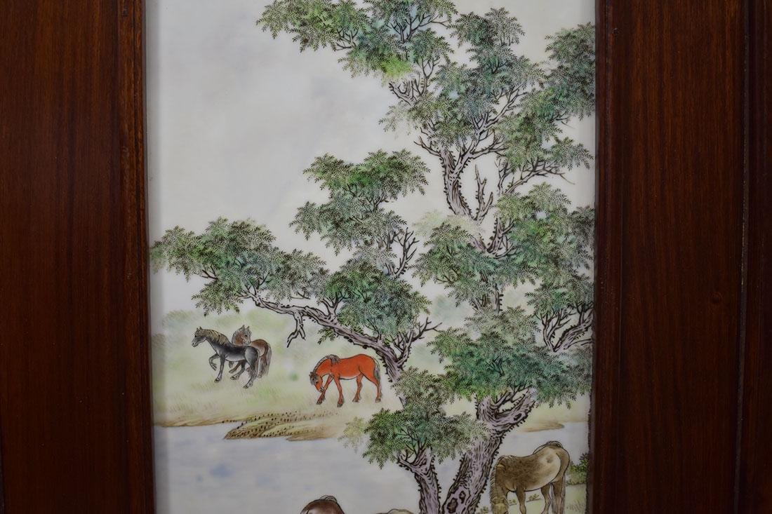 Lg Chinese Famille Rose Tile 20th C with Marks - 4