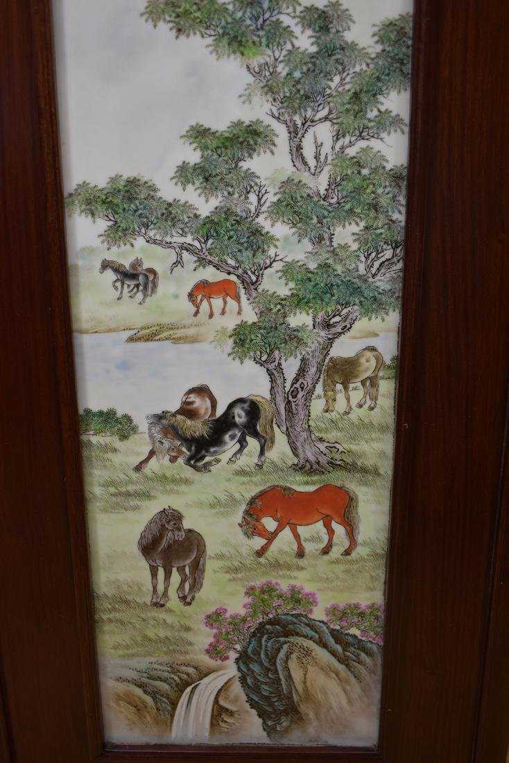 Lg Chinese Famille Rose Tile 20th C with Marks - 6