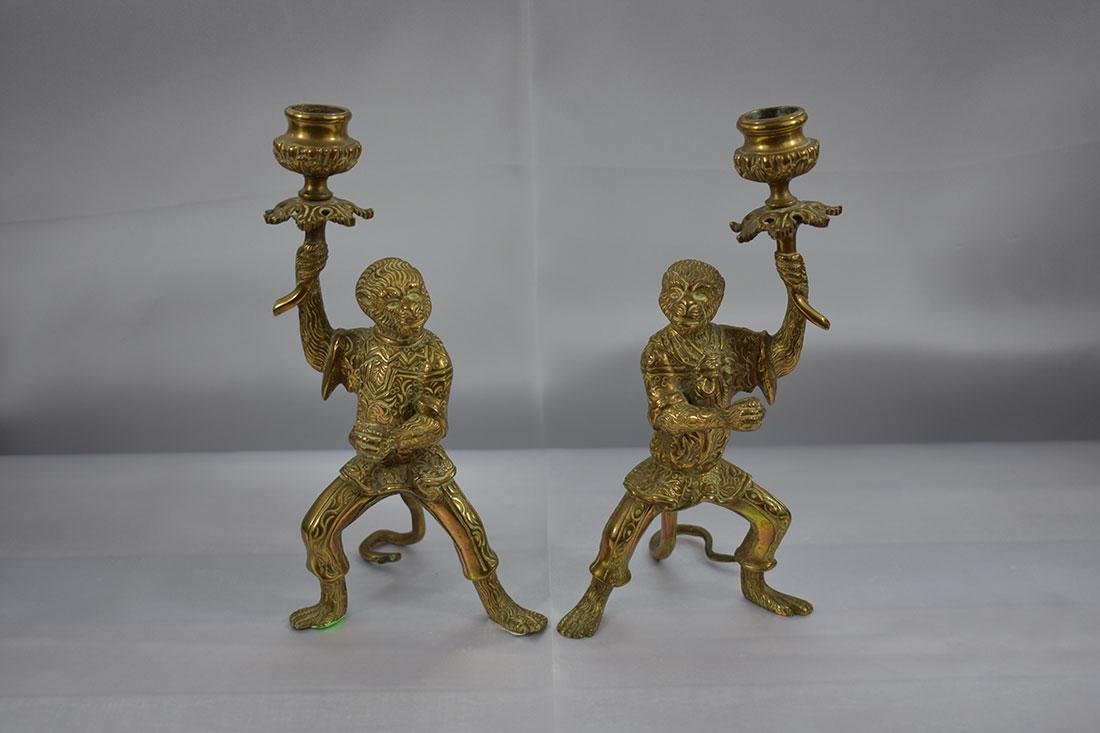 Pair of Bronze Monkey Candlesticks