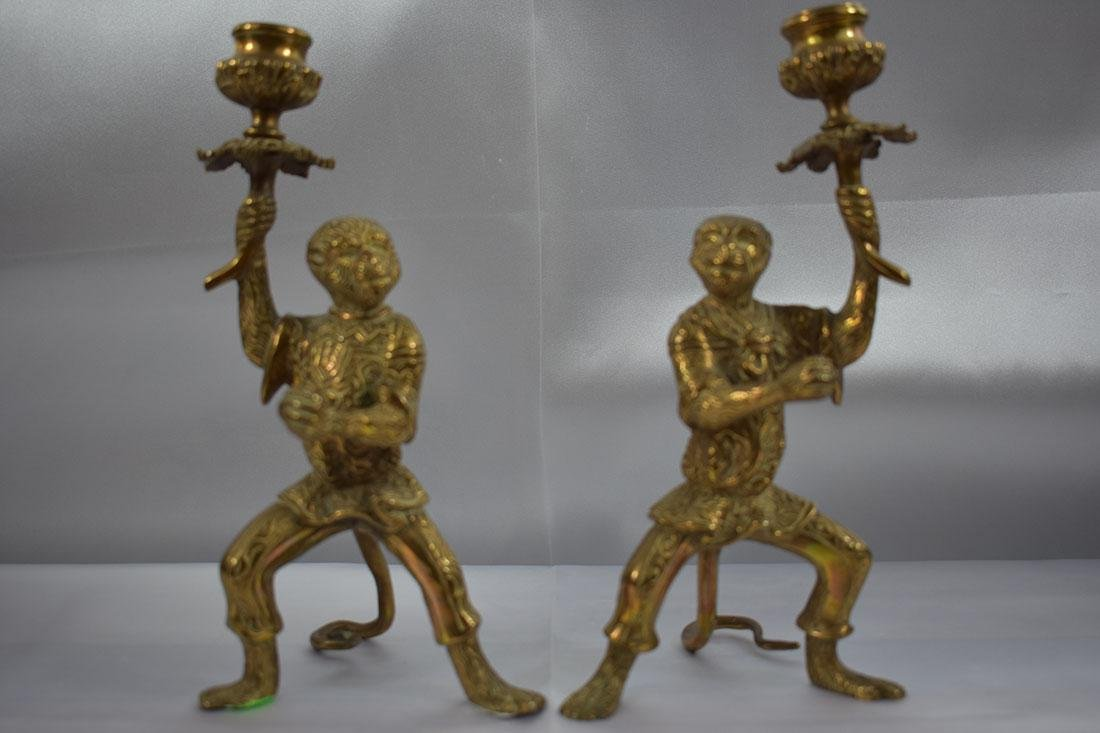 Pair of Bronze Monkey Candlesticks - 2