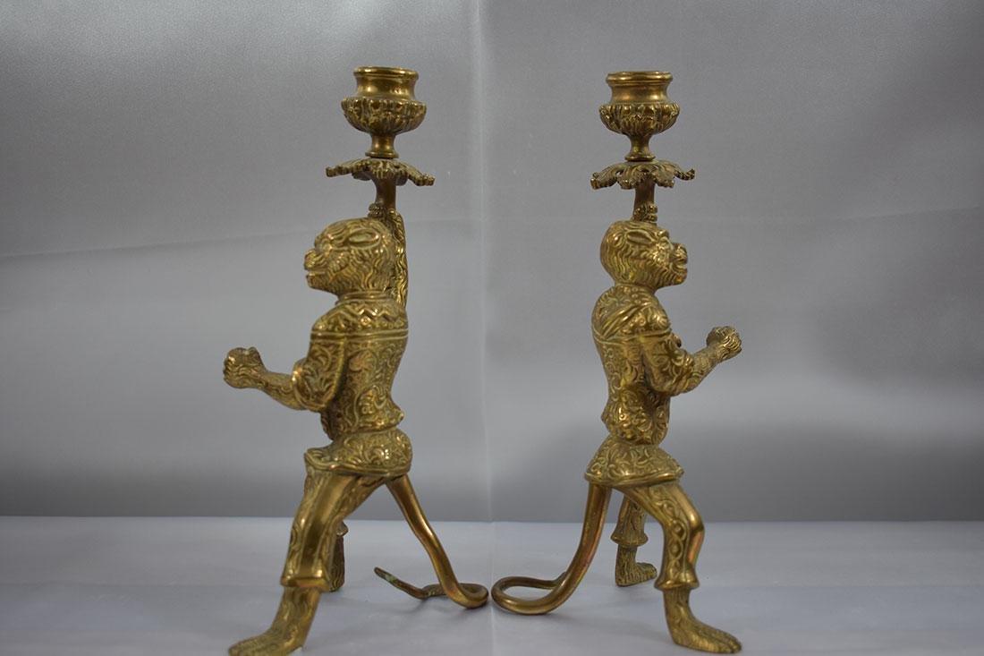 Pair of Bronze Monkey Candlesticks - 3