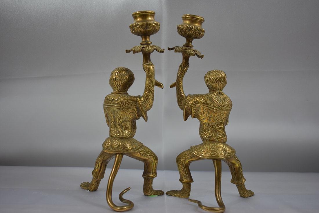 Pair of Bronze Monkey Candlesticks - 4