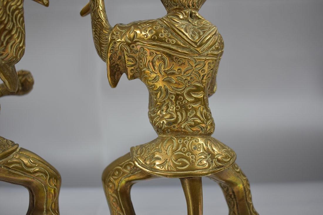 Pair of Bronze Monkey Candlesticks - 5