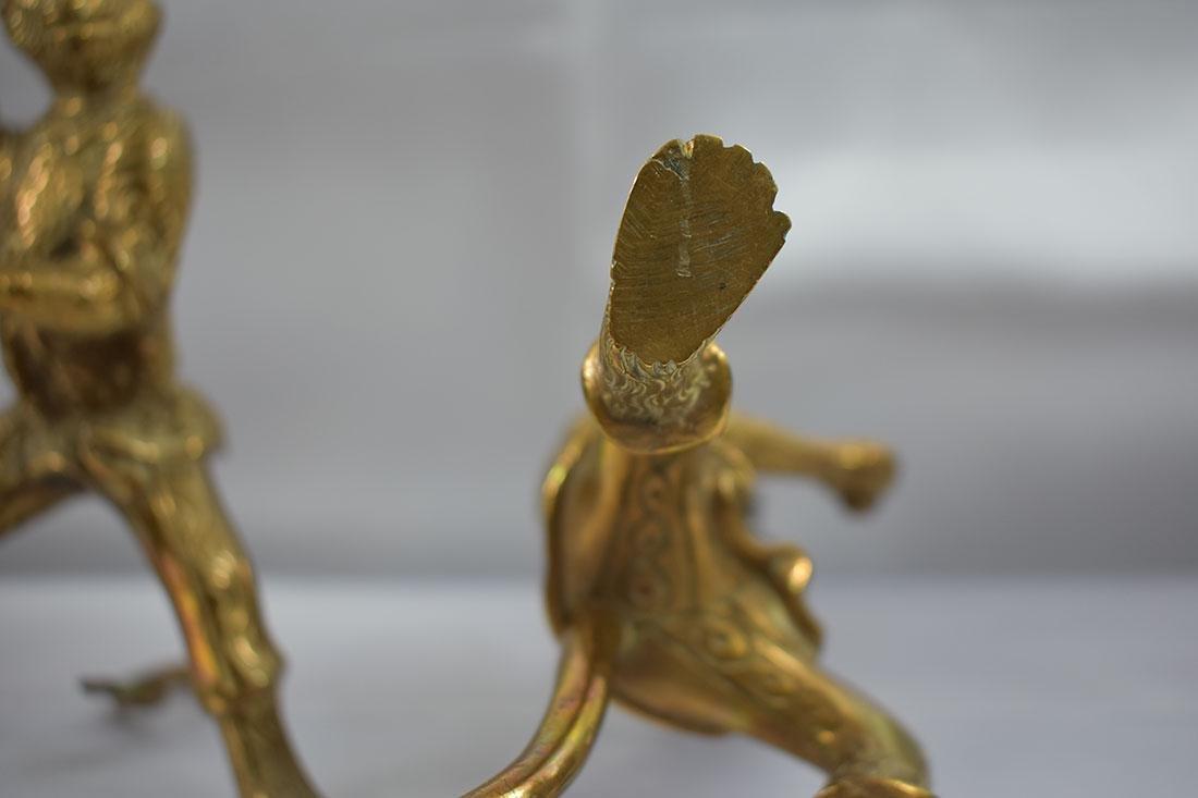 Pair of Bronze Monkey Candlesticks - 7