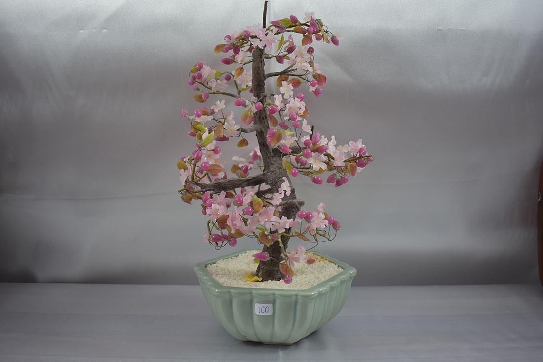 A Fine Pink Floral Asian Bonsai Tree