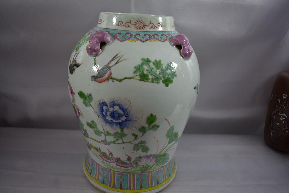 ANtique Chinese Famille Rose Jar/Vase with Figures - 6